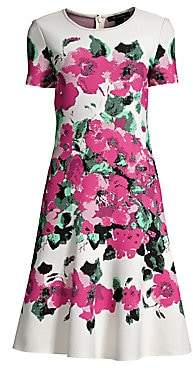 St. John Women's Vibrant Blooming Jacquard Dress