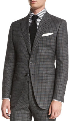 TOM FORD O'Connor Base Bicolor Gingham Two-Piece Suit, Black/Gray $4,760 thestylecure.com