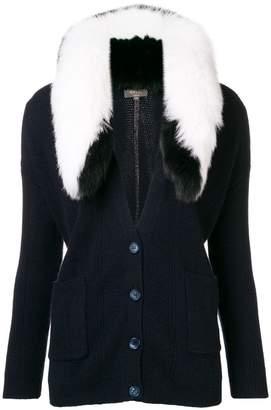 N.Peal detachable fur collar cardigan
