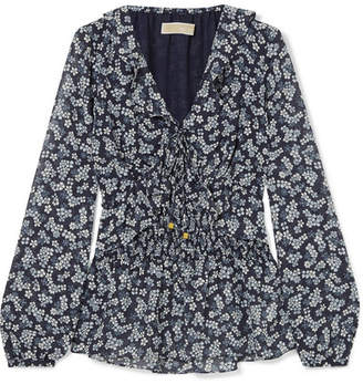 MICHAEL Michael Kors Shirred Floral-print Georgette Blouse - Navy