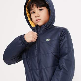 Lacoste Boys' SPORT Hooded Quilted Taffeta Tennis Jacket