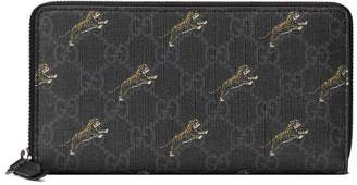 Gucci GG zip around wallet with tiger print