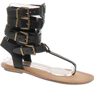 Liliana Avis-3 Women Leatherette Strappy T-Strap Gladiator Thong Sandal