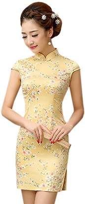 YueLian Women's Floral Printing Faux Silk Chinese Short Qipao Dress