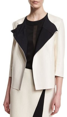 St. John Collection Bonded Leather 3/4-Sleeve Jacket, Alabaster/Caviar $2,095 thestylecure.com