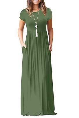 6e7f356c8dca DEARCASE Women Short Sleeve Loose Plain Maxi Dresses Casual Long Dresses  with Pockets