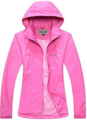 CRAB Women's Windproof Waterproof Rain Jacket Lady Hooded Breathable Coat