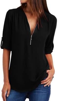 Corsion Fashion Women Casual Chiffon Tops T-Shirt Loose Top Long Sleeve Blouse (M, )