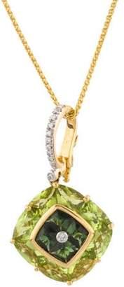 18K Peridot, Tourmaline & Diamond Pendant Necklace