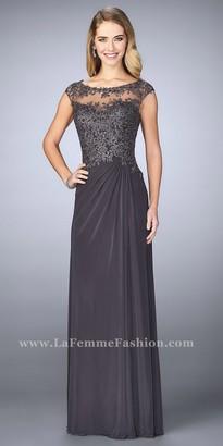 La Femme Rhinestone Illusion Neckline Draped Evening Dress $478 thestylecure.com