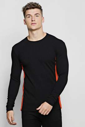 boohoo Ribbed Crew Neck Jumper With Side Tape