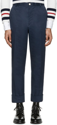 Thom Browne Navy Twill Classic Chino Trousers $790 thestylecure.com
