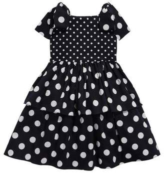 Oscar de la Renta Tiered Polka Dot Cotton Dress