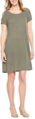 ST. JOHN'S BAY Short Sleeve Cold Shoulder A-Line Dress
