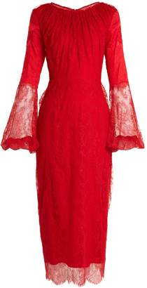 Emilio De La Morena Round-neck balloon-sleeved silk-blend lace dress