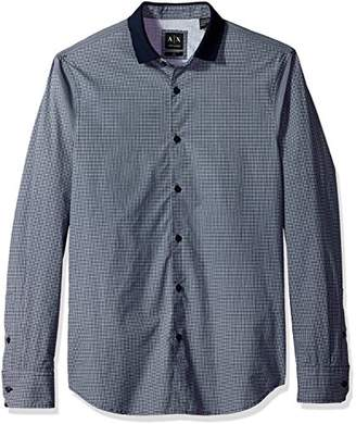 Armani Exchange A|X Men's Cotton Popeline All Over Micro Printed Woven