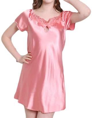 Frieed Womens Lace Patchwork Satin Silk Sleeveless Night Gown Sleep Dress XL caeb764d8