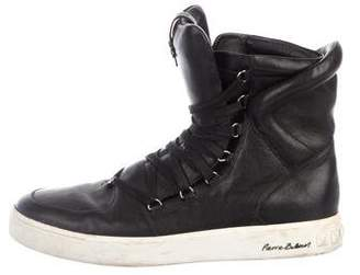 Pierre Balmain Leather High-Top Sneakers
