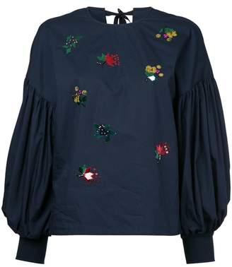 Muveil embellished puff-sleeve blouse