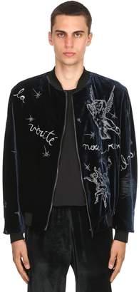 Viscose & Silk Velvet Bomber Jacket