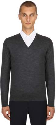 Prada Virgin Wool V Neck Sweater