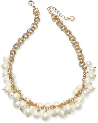 "Charter Club Gold-Tone Shaky Faux Pearl Collar Necklace, 17' + 2"" extender"