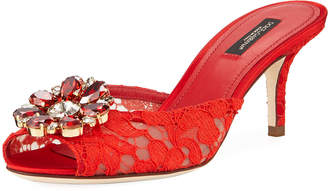 Dolce & Gabbana Keria Jeweled Lace Low-Heel Slide Sandals, Red