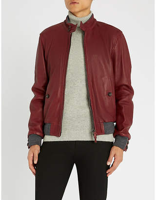 Jacob Cohen Knitted-trim leather jacket