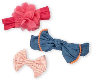Baby Essentials Newborn/Infant Girls) 3-Pack Chambray Bow Headbands