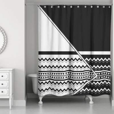 Asymmetrical Inverse Boho Tribal Shower Curtain in Black/White