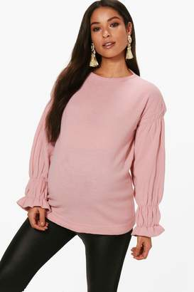 boohoo Maternity Julia Ruffle Sleeve Jumper