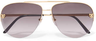 Cartier Panthère Aviator-style Gold-plated Sunglasses - Gray
