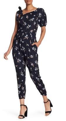 Rebecca Taylor One-Shoulder Natalie Floral Silk Jump Suit