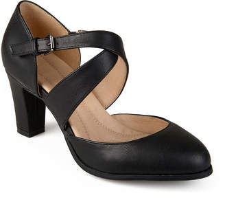 Journee Collection Womens Ainsli Pumps Open Toe Stacked Heel