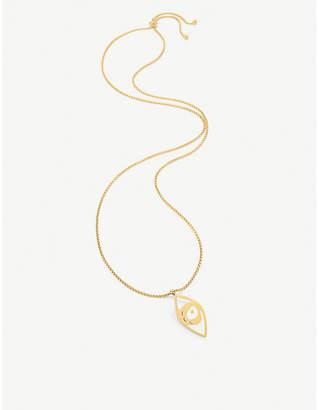 Folli Follie FF Talisman yellow gold-plated and white enamel eye necklace