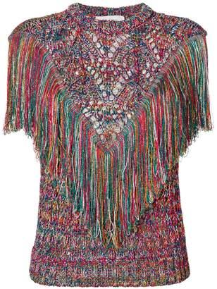 Circus Hotel metallic tassel knit top