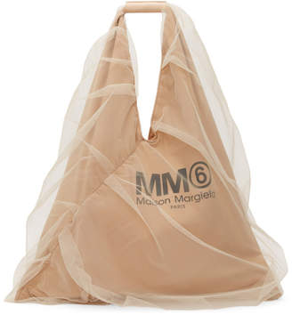 MM6 MAISON MARGIELA Beige Tulle-Covered Triangle Tote
