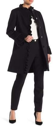 Sofia Cashmere Wool Blend Ruffle Trim Coat