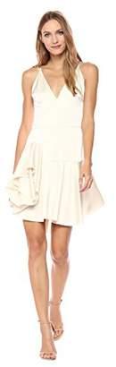 Halston Women's Sleeveless Deep V Neck Satin Cami Dress with Ruffle Skirt