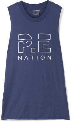 P.E Nation Base Load Printed Cotton-jersey Tank - Navy