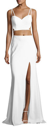 La Femme Sleeveless Crepe Lattice Two-Piece Gown, White $330 thestylecure.com