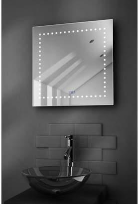 Diamond X Collection Box Shaver Bathroom Mirror With Clock, Demisting Pad & Sensor k183