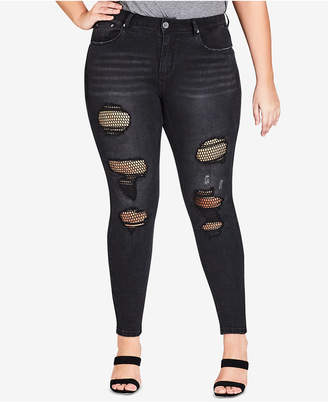 City Chic Trendy Plus Size Ripped Fishnet Skinny Jeans