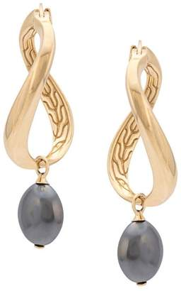 John Hardy Adwoa Aboah 18kt Yellow Gold and Hematite Twisted Hoop Drop Earrings