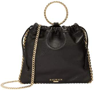 Balmain Black Leather B-Link Bracelet Backpack