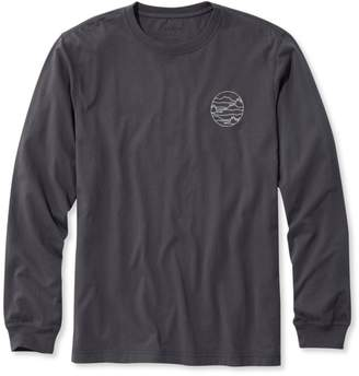 L.L. Bean L.L.Bean Lakewashed Garment-Dyed Cotton Crewneck Graphic Tee, Slightly Fitted Long-Sleeve Left Chest Mountain