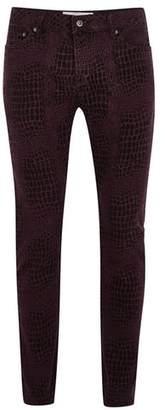Topman Mens Purple Printed Stretch Skinny Jeans