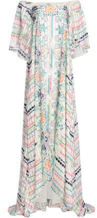 Off-The-Shoulder Printed Silk-Jacquard Maxi Dress