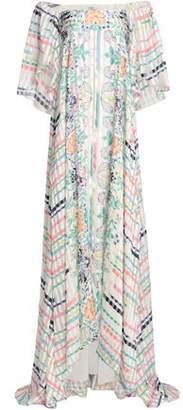 Vilshenko Off-The-Shoulder Printed Silk-Jacquard Maxi Dress
