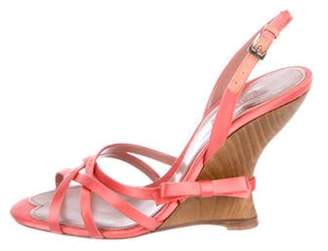 PeepToe Alaà ̄a Satin Peep-Toe Wedge Sandals Coral Alaà ̄a Satin Peep-Toe Wedge Sandals
